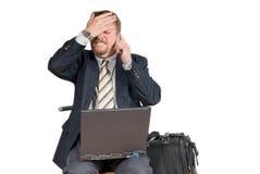 доведенный до банкротства телефон бизнесмена Стоковая Фотография