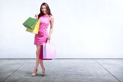 Довольно азиатская женщина держа стоять хозяйственных сумок Стоковые Изображения
