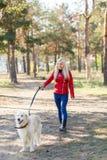 Довольно белокурая девушка идя с собакой в концепции животного леса Стоковые Фото