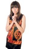 Довольно заботливая кавказская женщина стоковое фото