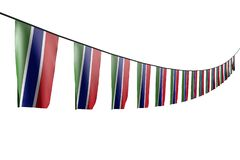 Довольно много флаги или знамен Гамбии вися диагональ с взглядом перспективы на веревочке изолированной на бело- любой флаг 3d пи иллюстрация вектора