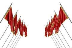 Довольно много флагов Черногории вися дальше в угловых опорах от левой стороны и правильных сторон изолированных на бело- любой ф иллюстрация вектора