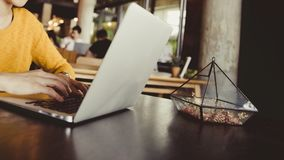 Довольно молодая женщина красоты используя компьтер-книжку в кафе стоковая фотография