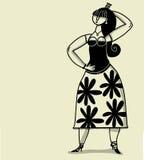 Довольно молодая испанская женщина иллюстрация вектора