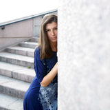 довольно унылая женщина Стоковое фото RF