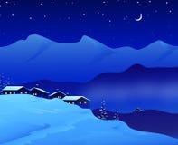Довольно ландшафт ночи зимы - бесплатная иллюстрация