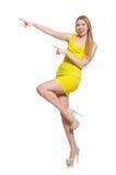 Довольно высокорослое изолированное платье желтого цвета женщины вкратце Стоковые Изображения