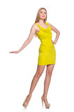Довольно высокорослое изолированное платье желтого цвета женщины вкратце Стоковое Изображение RF