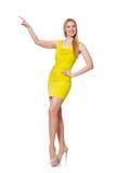 Довольно высокорослое платье желтого цвета женщины вкратце Стоковые Изображения