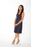 Довольно индийская женщина в голубом платье Стоковое Изображение