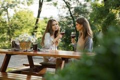 Довольно молодые 2 женщины сидя outdoors в вине парка выпивая Стоковые Изображения RF