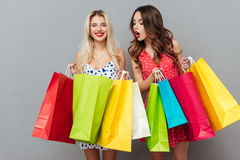 Довольно молодые 2 друз дам с хозяйственными сумками Стоковая Фотография RF