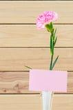 Довольно розовые цветки гвоздики на белой вазе с пустым приветствием Стоковое Фото