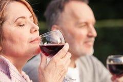 Довольно старая любящая пара расслабляющая в природе Стоковые Изображения