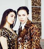 Довольно стильная женщина в платье моды с печатью леопарда совместно в роскошном богатом интерьере комнаты, концепции людей образ Стоковое Изображение