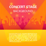 Договоритесь толпа, музыкальный фестиваль, танцуя люди, плакат партии с красочной предпосылкой Стоковые Изображения