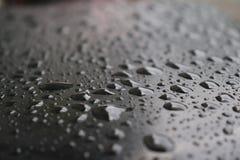 Дождевая вода, капельки темная предпосылка, сезон дождей, стоковое изображение rf