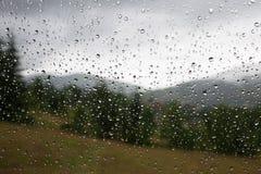 Дождевые капли на окне Ненастная погода, дождь Стоковая Фотография