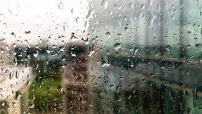 Дождевые капли на окне видеоматериал