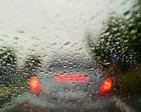 Raindrops on the glass of the car Стоковая Фотография RF
