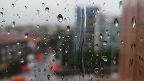 Дождевые капли на стеклянной специализированной части окна акции видеоматериалы