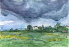 Дождливый день в деревне Comarovo иллюстрация вектора