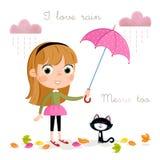 Дождливый день - маленькая девочка с розовыми зонтиком и листьями осени Стоковые Изображения