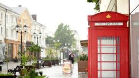 Дождь в мае в пешеходной улице Nalchik Стоковое фото RF