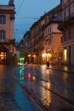 дождь ночи lviv города старый Стоковое фото RF