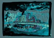 Дождь осени в небольшом городе бесплатная иллюстрация