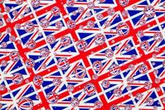 Дождь падает вполне английских флагов Стоковое Изображение RF