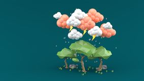 Дождь падает на большое дерево на зеленой предпосылке иллюстрация вектора