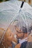 Дождевые капли на зонтике Стоковые Изображения RF