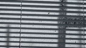 Дождевые капли течь вниз на стекле, окне закрыли штарки на стеклянных падениях воды сток-видео