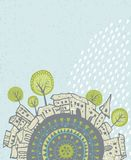 Дождь лета падая над городом Стоковое Фото
