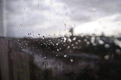 Дождь лета через окно Стоковые Фото