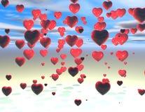 Дождь концепции влюбленности сердец Стоковое фото RF