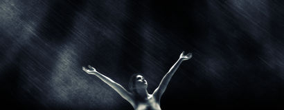 Дождь на ноче Стоковое Фото