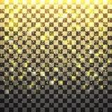Дождь яркого блеска золота светя на прозрачной предпосылке Wi Нового Года Стоковое Изображение