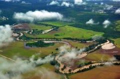 Дождь Forrest и поля Стоковые Фото