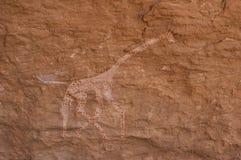 Доисторические петроглифы в libian пустыне Сахары Стоковая Фотография RF