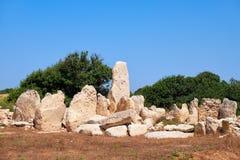 Доисторические руины megalithic виска Hagar Qim, Мальты Стоковое Изображение RF