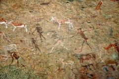 Доисторическое резное изображение утеса, Намибия Стоковое фото RF