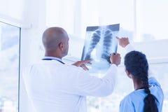 Доктора анализируя совместно рентгеновский снимок Стоковое Изображение RF