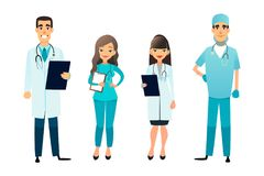 Доктора и команда медсестер Медицинский персонал шаржа Концепция медицинской бригады Хирург, медсестра и терапевт на больнице Стоковые Изображения