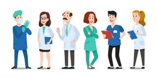 Доктора медицины Медицинские врач, медсестра больницы и доктор со стетоскопом Вектор мультфильма работников здравоохранения сотру иллюстрация штока