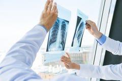 Доктора обсуждают рентгеновский снимок Стоковое Изображение