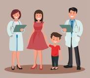 Доктора укомплектовывают личным составом и женщина с семьей Дантист и его усмехаясь пациенты Бесплатная Иллюстрация