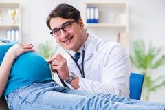 Доктор беременной женщины посещая в медицинской концепции Стоковое фото RF