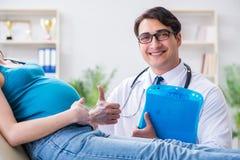Доктор беременной женщины посещая в медицинской концепции Стоковая Фотография